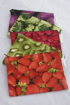 Set of 5 Reusable Zippered Snack Bags - Two Layers of Rip Stop Nylon or PUL - Fruit, Veggie, Snack and Seasonal Fabrics Available on Etsy, $25.50