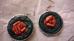Orecchini con cialde Nespresso verde e rosa rossa- by Lalussi