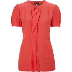 Armani Jeans Short sleeve ruffle blouse ($110) ❤ liked on Polyvore featuring tops, blouses, shirts, coral, women, loose blouse, ruffle blouse, collared shirt, red collar shirt and red shirt