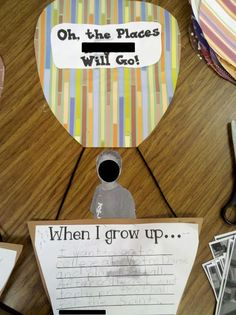 "A quick bulletin board/ writing idea to wrap up your Dr. Seuss unit using the book ""Oh, the Places You'll Go."""
