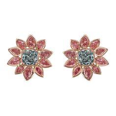 Argyle Pink Diamonds Green-Blue & Pink Diamond Flower Earrings