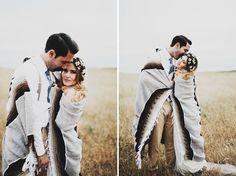 Long Branch Farms Laid-back Western Town Wedding: Stephanie + Jordan --- photos in a blanket (pendleton???)