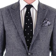 Seborga Black Polka Dot Knitted Silk Tie