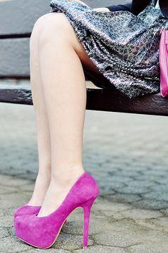 fushia suede shoes
