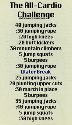 An all-cardio workout challenge! A great home workout for days when you cant make it to the gym. Find more like this at gympins.com