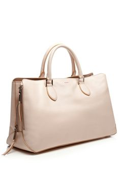 "Leather Tote Bag by Rochas, 15"" long x 9.5"" high x 6.5"" deep"