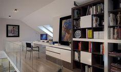 Compact Home Contemporary decor Construction, Contemporary Decor, Home Fashion, Corner Desk, Bookcase, Villa, Shelves, House Styles, Furniture