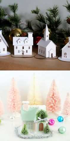 Glitter and snow tutorial for little putz houses.