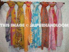 set of 10 sari kantha Scarf Quilted reversible Indian Stole Silk Sari Scarves