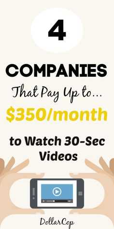 How to Get Paid to Watch Videos and Movies - DollarCop Make Money Now, Ways To Earn Money, Earn Money From Home, Earn Money Online, Make Money Blogging, How To Raise Money, Money Tips, Saving Money, Quick Money