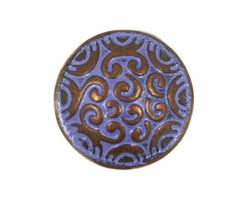Metal Buttons - Copper Scrollwork Domed Metal Shank Buttons in Purple Color - 15mm - 5/8 inch - 6 pcs
