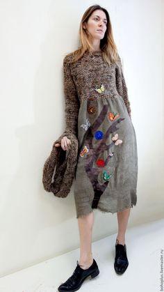 """Купить Платье в стиле бохо """"Линда4"""" - бежевый, однотонный, платье, теплый, теплая одежда"""