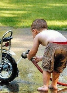 This mostly reminds me of Jaxon, but Raine and I were pretty focused on taking care of our bikes like the big guys, too.
