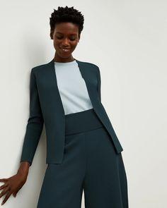 The Woolf Jardigan - Deep Sea | M.M.LaFleur Work Jackets, Knit Jacket, Deep Sea, Work Wear, Stylists, Blazer, My Style, Sleeves, Model