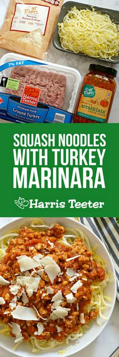 Low on carbs, high on protein, and adaptable to most diets!  This Squash Noodles with Turkey Marinara meal comes together in a breeze, perfect for rushed weeknights and certain to satisfy.