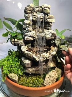 Terrariums Glass Gardens, simple way to bring the outdoors in is part of Mini garden Simple - There are endless options of creating indoor gardens under glass, see what you need and how easy it is to plant your own Terrarium Tabletop Water Fountain, Diy Fountain, Fountain Design, Indoor Fountain, Indoor Waterfall Fountain, Indoor Water Garden, Garden Water Fountains, Glass Garden, Diy Waterfall