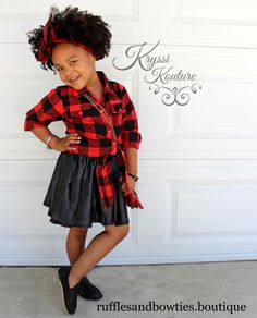 Pre Order - Baby Girls Buffalo Plaid Shirt and Matching Faux Black Leather Skirt