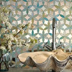 #mosaicmonday The Fiona Mosaic from our friends at New Ravenna!  #newravenna #glassmosaic #interiordesign #uniquestoneimports #UniqueTile