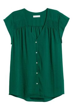V-neck blouse in airy, woven crêpe fabric with pin-tucks at shoulders, cap sleeves, and pearlescent buttons at front. Made partly from recycled polyester. In Dark Green. V Neck Blouse, Short Sleeve Blouse, Blue Blouse, Blouse Styles, Blouse Designs, H&m Shorts, Stitch Fix Stylist, Crepe Fabric, Shirt Blouses