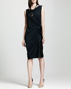 Bicolor Side-Ruched Shift Dress, Blue/Black by Lanvin at Neiman Marcus.