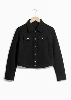 & Other Stories image 2 of Cropped Buttoned Jacket in Black