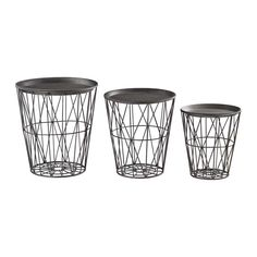 Furniture :: Living Room :: Tables :: Accent Tables  SET OF THREE ROUND METAL TRAY TABLES IN GRAPHITE FINISH  Set of three round metal tables in a graphite finish.