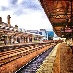 Sheffield train station and Electric Works (photo by on IG) Train Station, Sheffield, Yorkshire, Railroad Tracks, Cool Photos, Cities, To Go, Electric, England