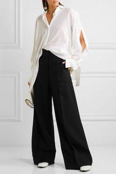 Lemaire - Wool Wide-leg Pants - Black - FR34