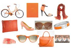 Orange Crushing on...Odds & Ends    C. Wonder Bicycle, Smythson of Bond Street Diary, Zara I Basic Sandals, J. Crew Vibrant Paisley Scarf  Graphic Image Clutch, J. Crew Drea Patent Peep-Toe Pumps, Vintage Sunnies, Hermes H Bracelet,  J. Crew Patent Leather Belt, Vintage Sunnies, Tory Burch Robinson Bag, Zara Geometric Print Sequinned Wallet