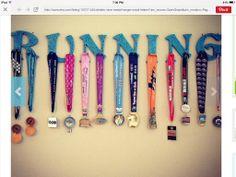 Fun way to hang race medals.