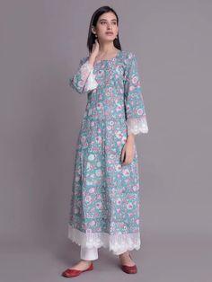 Blue Hand Block Printed Cotton Kurta with White Pants- Set of 2 Printed Kurti Designs, Simple Kurti Designs, Kurta Designs Women, Kurti Neck Designs, Pakistani Fashion Casual, Pakistani Dresses Casual, Pakistani Dress Design, Indian Fashion, Indian Designer Outfits