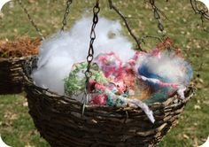 Bird Nest Material Station: Love the idea, but would keep it to natural materials such as cotton fluff or animal and plant fiber yarns. Bird Nesting Material, Nature Activities, Kid Activities, Bird House Feeder, Plant Fibres, Outdoor Crafts, All Birds, Crazy Dog, Gardens