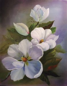 Daybe's simple day: oil painting works-flowers Fauna and Flora are two terms frequently heard by people who spend amount of … Acrylic Painting Flowers, Acrylic Art, Watercolor Flowers, Watercolor Paintings, Floral Drawing, Magnolia Flower, Arte Floral, Painting Inspiration, Flower Art