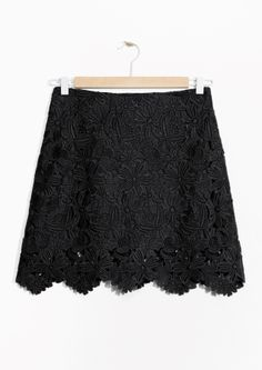 & Other Stories image 2 of Floral Lace Mini Skirt in Black