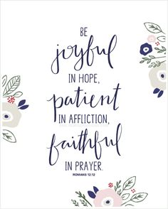 Be joyful in hope patient in affliction faithful in prayer (hand lettered) 8 by 10 print - Book T Shirts - Ideas of Book T Shirts - Christian t-shirts tank tops and art prints for women. Emily Burger Designs is now Blue Chair Blessing. Scripture Cards, Bible Verses Quotes, Bible Scriptures, Faith Quotes, Healing Scriptures, Healing Quotes, Heart Quotes, Image Beautiful, Back In The 90s