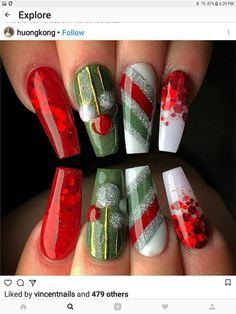 Bright red with red glitter. Green with hand painted ornaments. and silver, green, red stripes. Beautiful Christmas nails by 😍 Ugly Duckling Nails page is dedicated to promoting quality, inspirational Xmas Nails, Holiday Nails, Christmas Nails, Pink Nails, Christmas Trees, Green Christmas, Valentine Nails, Simple Christmas, Silver Christmas