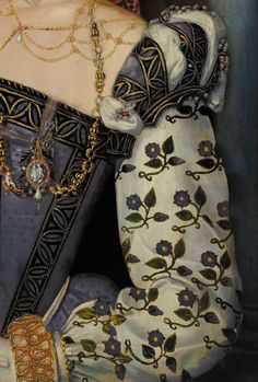 """? Colour change on this detail, see details by Bess Chilver.  """"The gown is from 1569 """"Unknown Girl"""" now thought to be Helena Snakenborg. The dress was originally pinky red rather than blue that the Lost Gallery on Flickr have changed it to."""""""