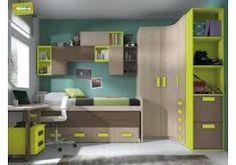 Resultado de imagen de combinacion colores habitaciones juveniles niño con armario y cama de cabecero y piecero
