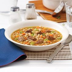 Soupe boeuf et orge Asian Recipes, Healthy Recipes, Ethnic Recipes, Soup Recipes, Cooking Recipes, Tacos, Monkey Bread, Soups And Stews, Recipes