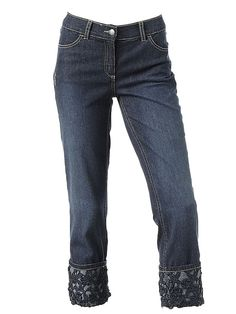 Jeans dama Linia tesini trei sferturi, blue denim cu dantela in partea inferioara. p102 Jeans, Shopping, Fashion, Moda, Fasion, Trendy Fashion, Green Jeans, Denim Pants, La Mode