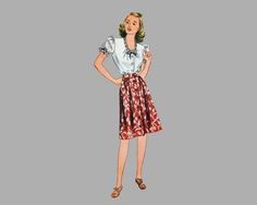 1944 Shorts, Skirt, Blouse and Jumper pattern, Simplicity 4981, Size 14, Bust 32, Front button blouse and skirt and shorts, Front pleats by knightcloth on Etsy
