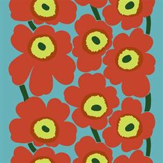 The beautiful Unikko fabric in turquoise-red comes from the Finnish brand Marimekko and is designed by Maija Isola and Emma Isola. The fabric is made of high quality cotton and has the classic Unikko pattern with large flowers. Use the fabric as curtains or why not as a nice table cloth