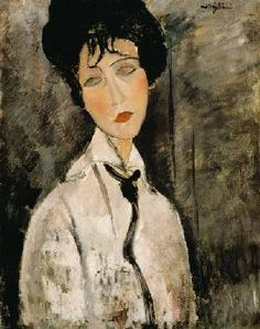 Amadeo Modigliani - Frauenbildnis mit Krawatte