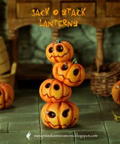 Jack O Stack Lanterns by Pixie Dust Miniatures. $45.00, via Etsy.