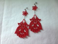 Lace Jewelry Red Floral Earrings Machine by CandaceOnline on Etsy, $18.00