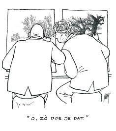 Jo Spier en Peter Verstraten door Jo Spier Just Smile, Political Cartoons, Satire, Art Education, Comic Strips, Blond, Funny Pictures, Humor, Image