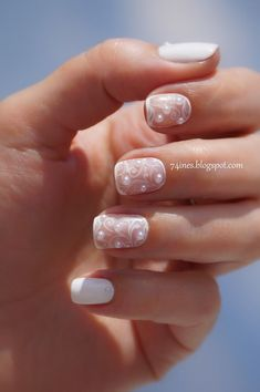 Wedding Nails-A Guide To The Perfect Manicure – NaiLovely Wedding Day Nails, Wedding Nails Design, Pearl Nails, Pearl Nail Art, Lace Nails, Bride Nails, Best Nail Art Designs, Super Nails, Simple Nails