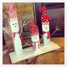 Wooden Snowmen---didn't find instructions, but I think I can figure it out!