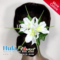 Tropical Hawaii Flowers Hair Clip by HULA FLOWERS ************Sharing And Made with Aloha************ THIS FLOWERS HAIR CLIP IS COMPOSED OF : Silk Orchid x 3 pcs and Silk Leaves All man made fiber materials Built on a silver metal hair clip: 3 long Total size approx.: 4 x 5 Halau/