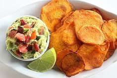 Paleo Perfection: Baked Sweet Potato Chips and Spicy Guacamole